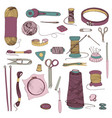 knitting and sewing accessories hand drawn vector image