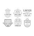 lawyer retro logo set law firm premium business vector image vector image