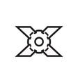 lines x gear logo design vector image vector image