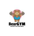 logo bear gym mascot cartoon style vector image vector image