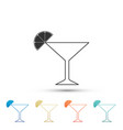 Martini glass icon cocktail with lime symbol