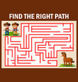 maze game finds the coboy and cowgirl way get to h vector image