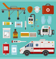 medical icons set care ambulance emergency vector image vector image