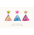 Merry Christmas pine tree watercolor greeting card vector image vector image