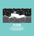 Motorcycle In A Flood vector image vector image