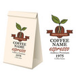 paper packaging with label for coffee beans vector image vector image