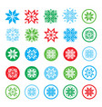 pixelated snowflakes christmasr icons vector image