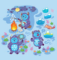 print with busy yetis in cartoon style vector image vector image