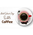red cup of coffee with spoon and coffee beans vector image vector image