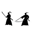 Samurai warrior in silhouette style