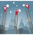 Santa Hanging Stars and Christmas Woods vector image vector image