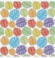 seamless pattern with colored tropical leaves vector image vector image