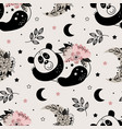 seamless pattern with cute floral panda vector image vector image