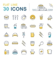 Set Flat Line Icons Fast Food and Junk Food vector image vector image