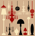 set lamps and chandeliers isolated on white vector image