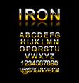 set modern iron alphabet letters vector image