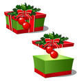 set of ornate gift boxes with red lid tied with vector image