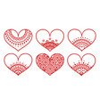 set of red decorated hearts with ornament on white vector image vector image