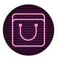 shopping bag neon brick wall vector image