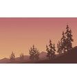 Silhouette of scenery spruce in hills vector image vector image