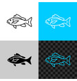 snapper fish line icon common snapper outline vector image vector image