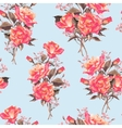 Summer Seamless Watercolor Pattern with Red Roses vector image vector image