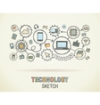Technology hand draw integrate icons set on paper vector image vector image