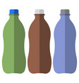 three plastic bottles of different colors for vector image vector image