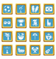 travel brazil icons set sapphirine square vector image vector image