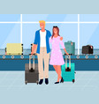 travelers in airport track with luggage vector image vector image
