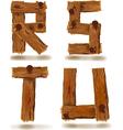 wooden R S T U vector image