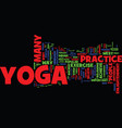 yoga facts text background word cloud concept vector image vector image