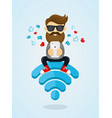 young men guy character sitting on wi-fi vector image vector image