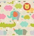 seamless pattern with baby jungle animals vector image