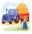 a little boy farmer vector image