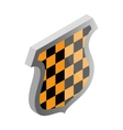 Black and yellow shield icon isometric 3d style vector image vector image