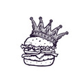 burger with crown hand drawn fast food logo vector image vector image