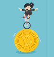 business woman drives a single wheel bike on vector image vector image