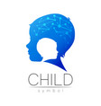 child blue logotype in with brain