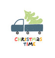 christmas time greeting card car with christmas vector image