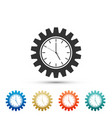clock gear icon isolated on white background vector image vector image