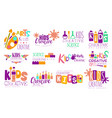 creative kids logo set arts and science centre vector image vector image
