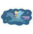 cute cartoon boy flies on a pegasus little prince vector image vector image