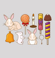 cute rabbits and candies design vector image vector image