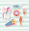 cute set fantasy elements unicorn cloud with wings vector image