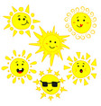 cute sun with funny emotions characters set vector image vector image