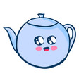 cute teapot on white background vector image vector image
