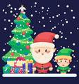 decorated christmas tree and gifts cute santa and vector image