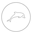 dolphin icon black color in circle vector image