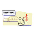 election day concept businesswoman voter putting vector image vector image